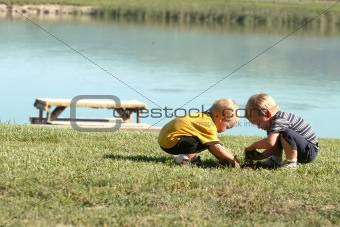 Boys playing in the grass