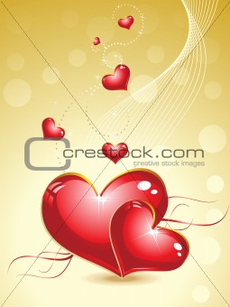 valentine heart with gold background
