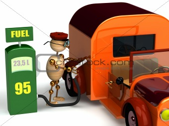 3d wood man with a petrol pump