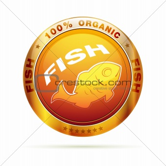 100 percent organic Fish badge