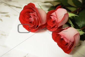three red roses and a letter