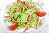 Salad of squid with roast chiken