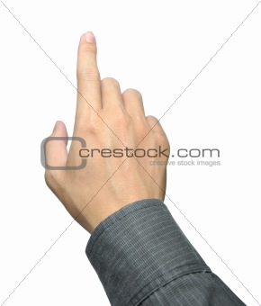businessman hand touching