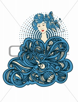 beautiful asian woman with abstract floral ornament around