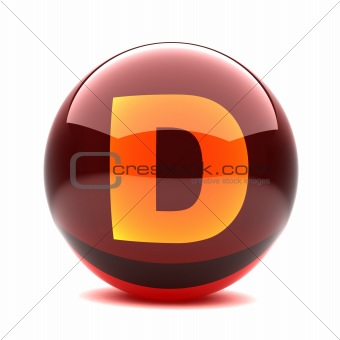3d glossy sphere with orange letter - D