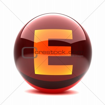 3d glossy sphere with orange letter - E
