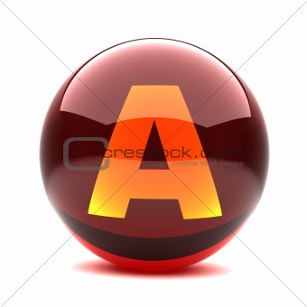 3d glossy sphere with orange letter - A