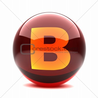 3d glossy sphere with orange letter- B