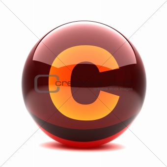 3d glossy sphere with orange letter - C