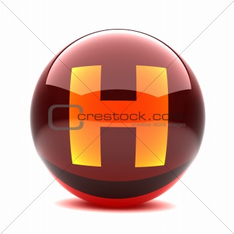 3d glossy sphere with orange letter - H