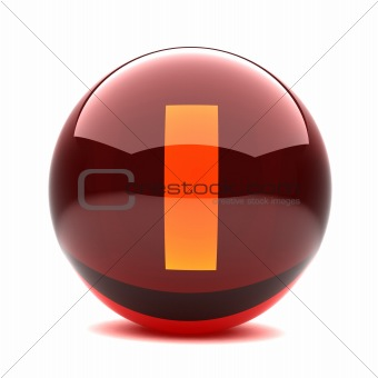 3d glossy sphere with orange letter - I