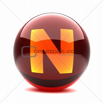3d glossy sphere with orange letter - N