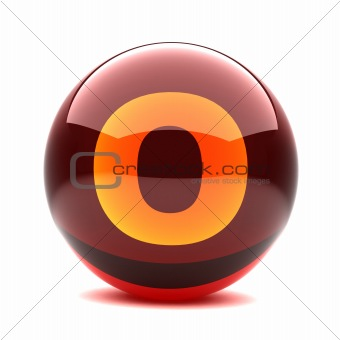3d glossy sphere with orange letter - O