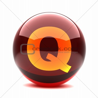 3d glossy sphere with orange letter - Q