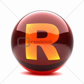 3d glossy sphere with orange letter - R