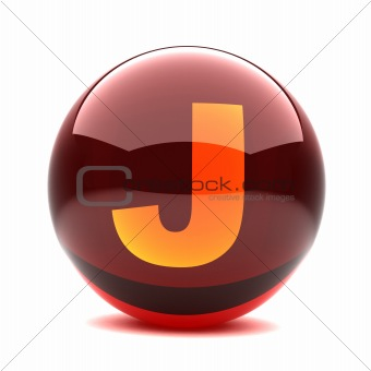 3d glossy sphere with orange letter - J