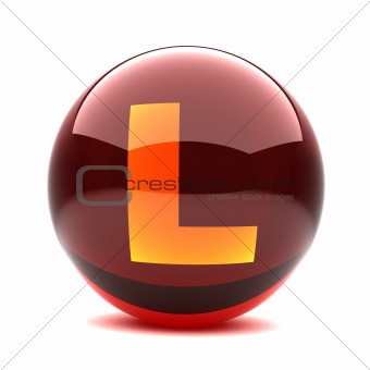 3d glossy sphere with orange letter - L