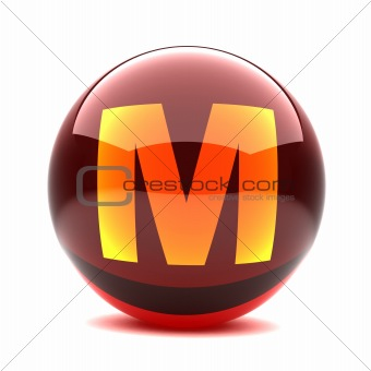 3d glossy sphere with orange letter - M