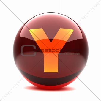 3d glossy sphere with orange letter - Y