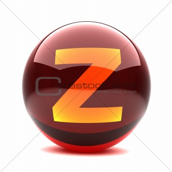 3d glossy sphere with orange letter - Z