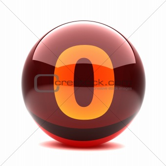 3d glossy sphere with orange digit - 0