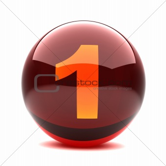 3d glossy sphere with orange digit - 1