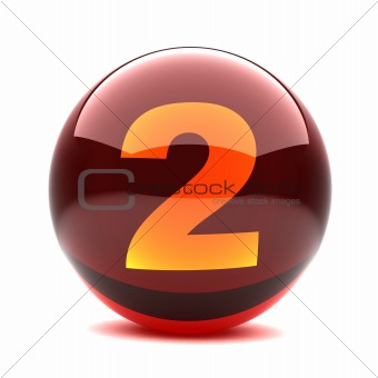 3d glossy sphere with orange digit - 2