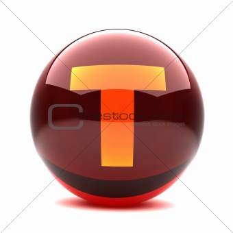 3d glossy sphere with orange letter - T