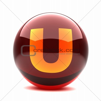 3d glossy sphere with orange letter - U