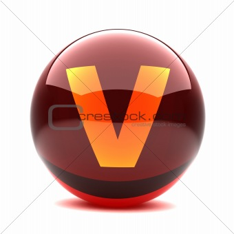 3d glossy sphere with orange letter - V