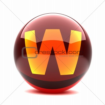 3d glossy sphere with orange letter - W