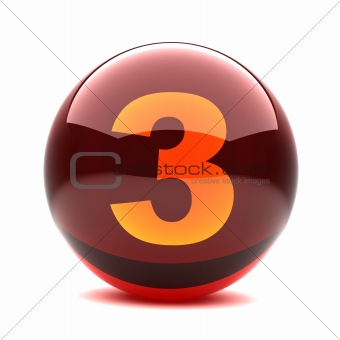 3d glossy sphere with orange digit - 3