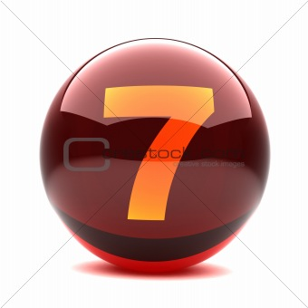 3d glossy sphere with orange digit - 7
