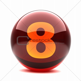 3d glossy sphere with orange digit - 8