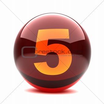 3d glossy sphere with orange digit - 5