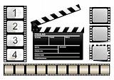 movie clapboard and filmstrip