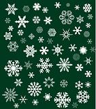 white snowflakes on green background
