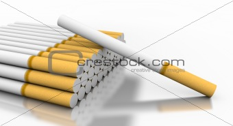 Cigarettes with one fallen