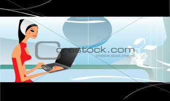 A beautiful professional woman using her laptop computer