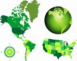 america map and globe