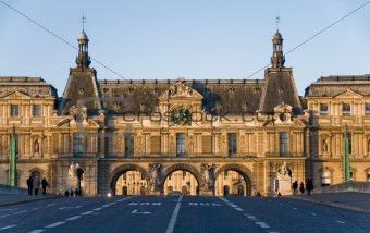 South facade of Louvre Museum. View from Pont du Carrousell, Par