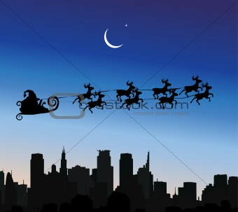 Santa Claus riding his sleigh over a city