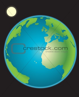 Earth with moon vector