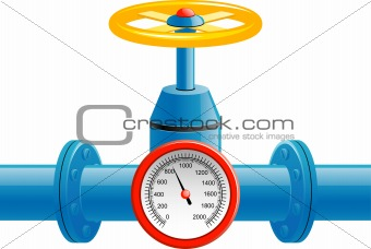 Gas pipe valve and pressure meter