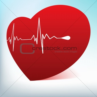 Red glass heart with normal cardiogram. EPS 8