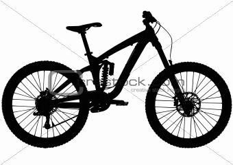 Downhill full suspension mountain bike silhouette