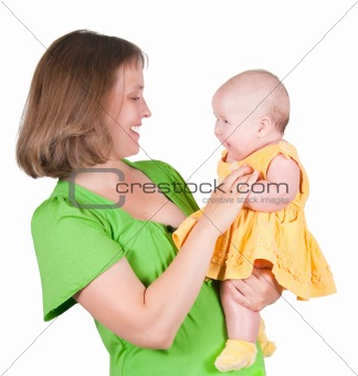 The woman holds the small child