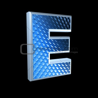 abstract 3d letter with blue pattern texture - E