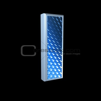 abstract 3d letter with blue pattern texture - I