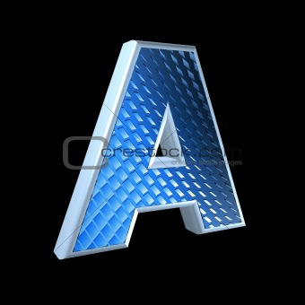 abstract 3d letter with blue pattern texture - A